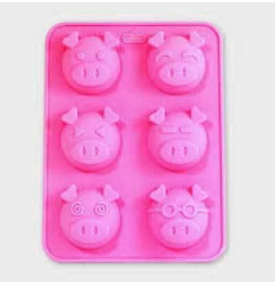 可愛小豬矽膠模-六款(6入)