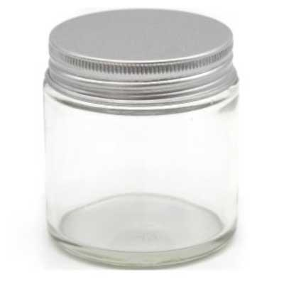 Clear Glass Jar with Silver Cap (8 oz)